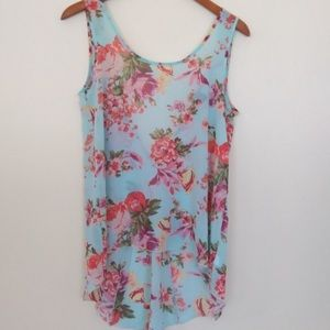Forever 21 Sheer Blue Floral Tank Small